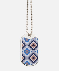 Aztec Blue and Brown Pattern Dog Tags