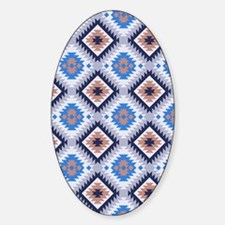 Aztec Blue and Brown Pattern Sticker (Oval)