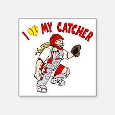 "red, I love my catcher Square Sticker 3"" x 3"""