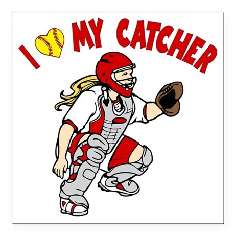 "red, I love my catcher Square Car Magnet 3"" x 3"""