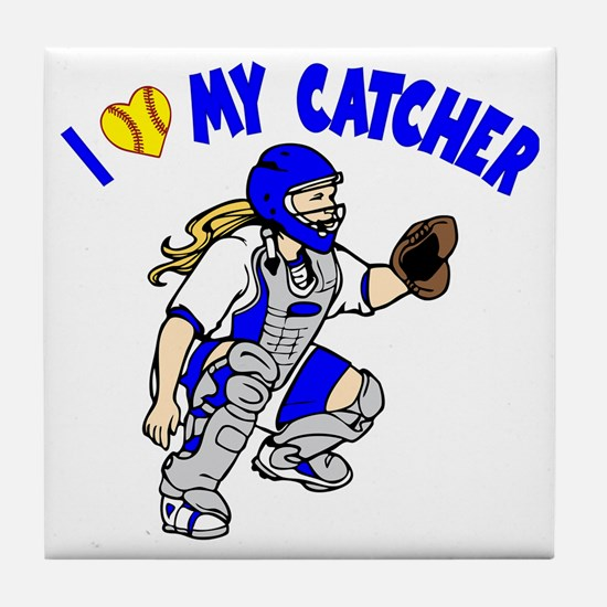 blue, I love my catcher Tile Coaster