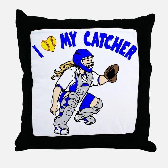 blue, I love my catcher Throw Pillow