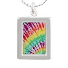 Tie Dye Design  Silver Portrait Necklace