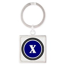 Blue X Square Keychain