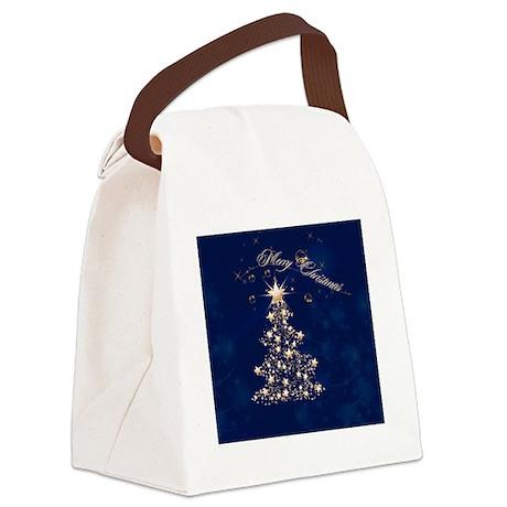 Blue Golden Christmas Canvas Lunch Bag