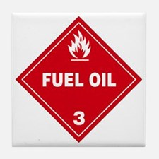 Red Fuel Oil Hazard Warning Sign Tile Coaster