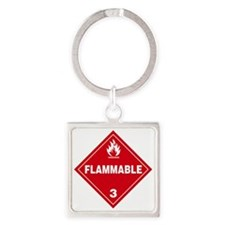Red Flammable Warning Sign Square Keychain