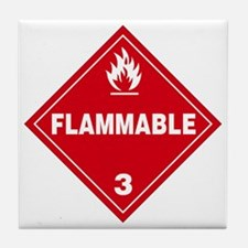 Red Flammable Warning Sign Tile Coaster