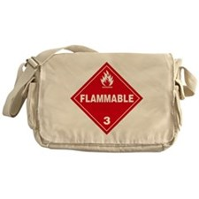 Red Flammable Warning Sign Messenger Bag