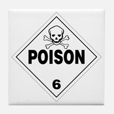 Poison Skull and Bones Warning Sign Tile Coaster