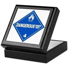 Blue Dangerous When Wet Warning Sign Keepsake Box