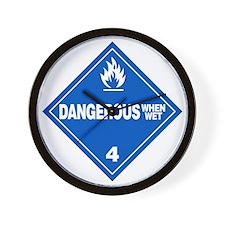Blue Dangerous When Wet Warning Sign Wall Clock