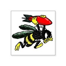 "WWII Bee Bomber Square Sticker 3"" x 3"""