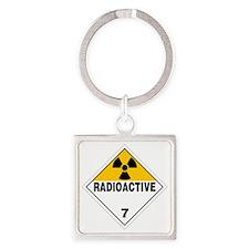 Radioactive Warning Sign Square Keychain