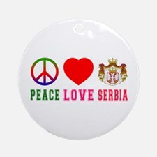 Peace Love Serbia Ornament (Round)
