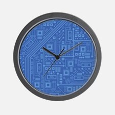 Blue Circuit Board Wall Clock