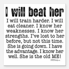 "I Will Beat Her Square Car Magnet 3"" x 3"""