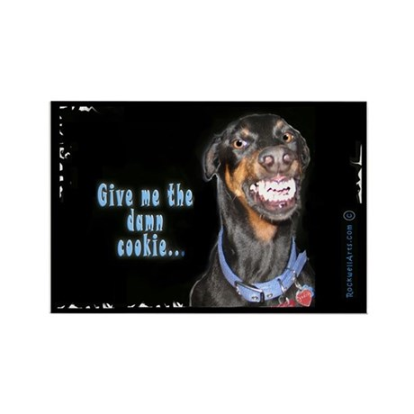 Doberman Pinscher Smiles Rectangle Magnet (10 pack
