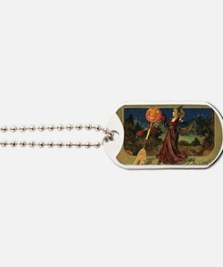 Vintage Halloween Dancing Witch Dog Tags