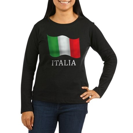 Italia Flag Women's Long Sleeve Dark T-Shirt