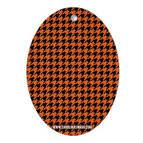 Houndstooth Orange Oval Ornament