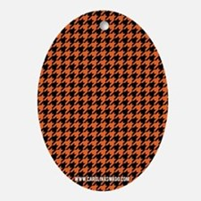 Houndstooth   Orange Oval Ornament