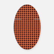 Houndstooth   Orange Oval Car Magnet