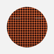 "Houndstooth   Orange 3.5"" Button"