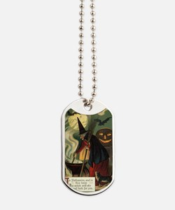 Vintage Halloween Witch with Cauldron Dog Tags
