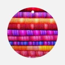 Colorful Fabric Pattern Round Ornament