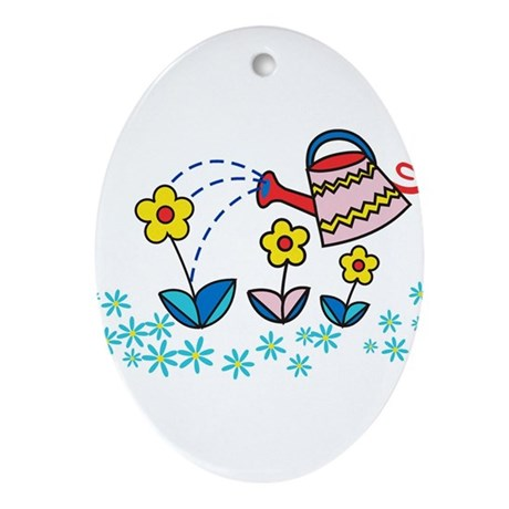 blooming flowers Oval Ornament