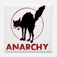 Anarchy - black cat Tile Coaster