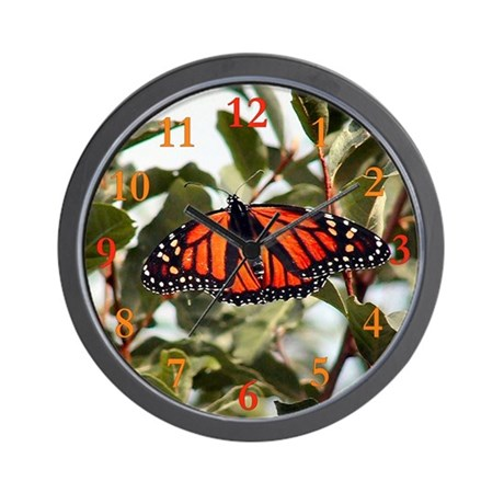 """""""Monarch Butterfly"""" Wall Clock (with numbers)"""