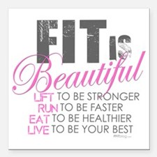 "Fit is Beautiful Square Car Magnet 3"" x 3"""