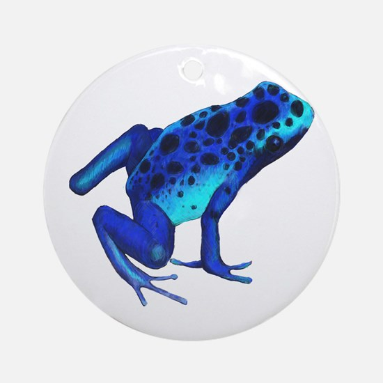 Blue Dart Frog Round Ornament