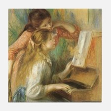Young Girls at the Piano by Renoir Tile Coaster