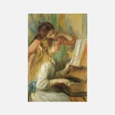 Young Girls at the Piano by Renoi Rectangle Magnet