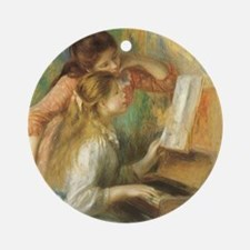 Young Girls at the Piano by Renoir Round Ornament
