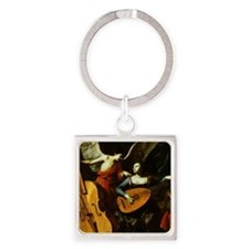 Saint Cecilia and the Angel by Sar Square Keychain