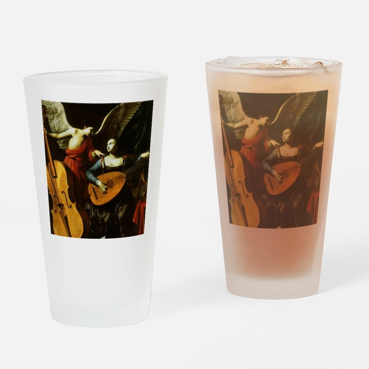 Saint Cecilia and the Angel by Sara Drinking Glass