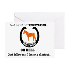Mule Sense Lead me not into temptati Greeting Card