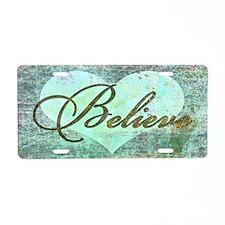 believe teal heart Aluminum License Plate