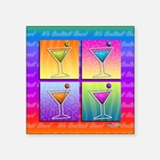 "MARTINIS Pop Art Square Sticker 3"" x 3"""