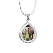 Appaloosa Mare  Foal Por Silver Teardrop Necklace
