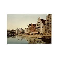 Graslei,_Ghent,_Belgium,_1890s Rectangle Magnet