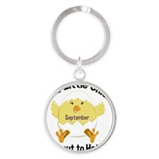 SEPTEMBER Chick about to Hatch Mate Round Keychain