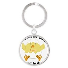 AUGUST Chick about to Hatch Materni Round Keychain