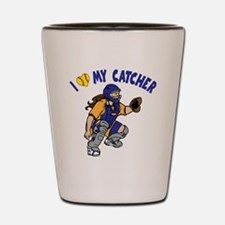 bg,I love my catcher Shot Glass