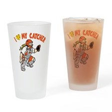 orange, I love my catcher Drinking Glass