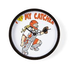 orange, I love my catcher Wall Clock